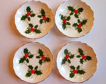 Vintage Royal Tuscan Noel Candy Dishes with green Holly with Red Berries set of four made in England