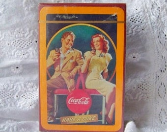 Vintage Deck of Cards Coca Cola Sealed Bridge Cards Playing Cards Coke Memorabilia 1992