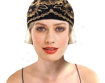 Art Nouveau Hat, Cloche Hat, 1920s Roaring 20s Flapper Gold Black Knit Hat Turban Great Gatsby, Eccentric Fahsion Beanie, Retro Gift For Her