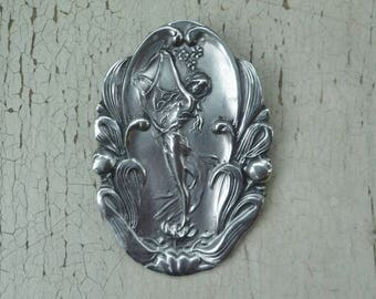 Pewter Brooch Pendant Pin. Art Nouveau Maiden Woman Lady. Haugrud Tinn of Norway. Vintage 1980s. Large Size. Scandinavian Pewter, Signed.