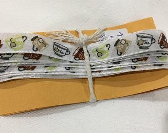 Tea Cup Ribbon, Printed Ribbon, Sewing, Crafting, Embellishment, Trim Supply