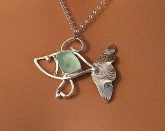 FISH Argentium Silver Sea Glass Fish Necklace (935) SeaFoam Green