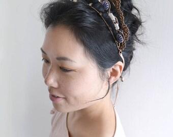 MISS Blue - blue and brown party crown, swarovski crystal beaded hair vine