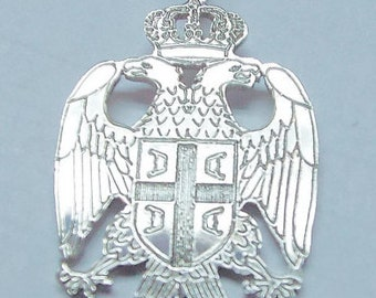 serbian  eagle .1''' size or 25mm  tall. 1 mm thick .sterling silver. Rhodium  plated. .serbeag