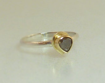 Engagement Diamond ring. Sterling Silver and 14K Gold bezel setting with Natural Gray Tear drop Diamond, size 6.75