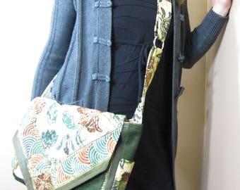 Messenger Bag Flowers and Swirls Green Corduroy