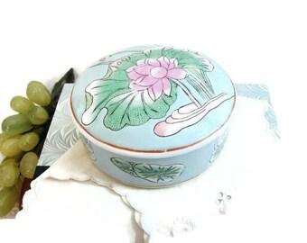 Vintage Chinoiserie Lidded Vanity Jar,  Pink Lotus Blossom Trinket Box ... Hand Painted Asian Lotus Blossom on Aqua Blue