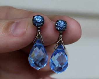 Vintage Art Deco Blue Rhinestone and Briolette Pendant Earrings