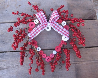 "Small 9"" Valentine Heart Wreath, Small Space Wreath, Button Heart Wall Art"