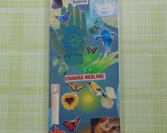 Chakra Healing Handmade Collage Bookmark by Pepperland