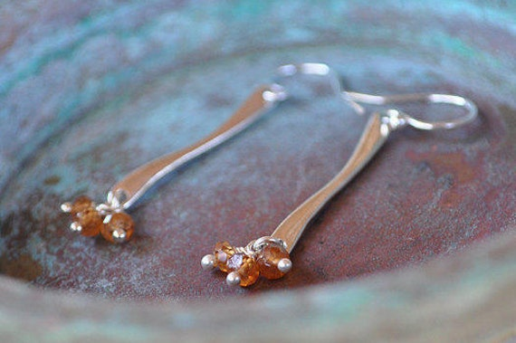 Cast Silver Stem Earrings With Hessonite Garnet