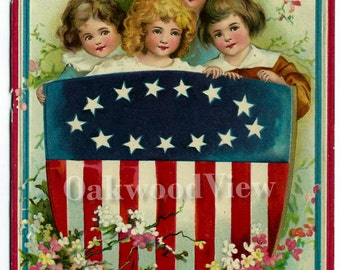Grand Army of the Republic G.A.R. Patriotic Postcard, Artist Signed Ellen Clapsaddle, Antique 1910 Color Ephemera, FREE SHIPPING