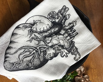 Anatomical Heart Cotton Flour Sack Towel Screen Printed