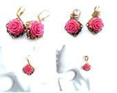 Clip On Earrings, Pink Clips, Pink Earrings, Rose Earrings, Flower Earrings, Pink Flower, Pink Rose, Pink Gold Earrings, Pink Dangle Earring