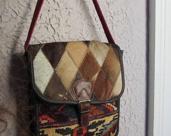 Vintage Kilim Leather Tapestry Carpet Shoulder Bag