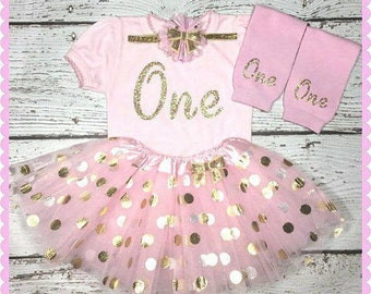 Birthday Girl Baby Outfit, 1st birthday pink and gold princess set,  birthday gold one tutu, pink and gold smash cake outfit