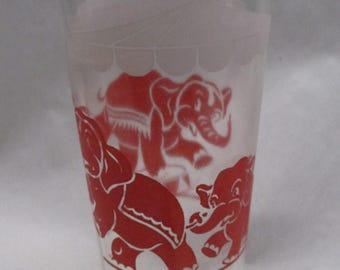 Three Red or Pink Circus Elephants in Big Top Vintage 50s Glass Tumbler lg