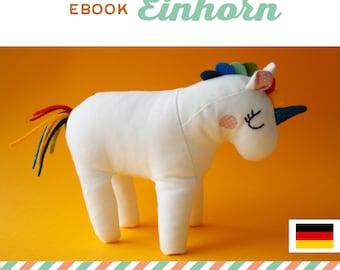 GERMAN unicorn soft toy tutorial, DIY, instructions, sewing pattern