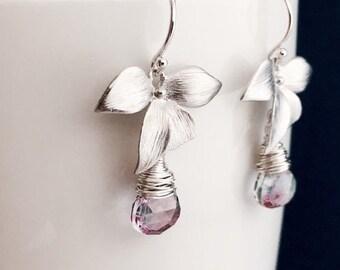 Silver Wild Orchid Earrings, Blue Flashy Labradorite