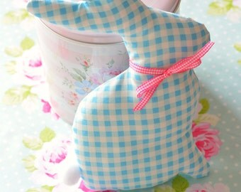 Blue fabric bunny home decor cute handmade easter bunny decoration blue gingham