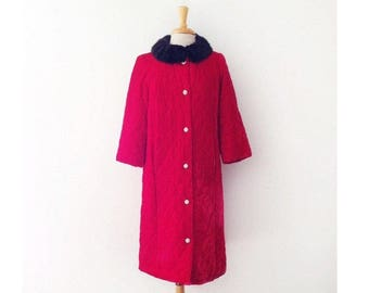 SOLD 1950s quilted red velvet jacket with mink collar size medium