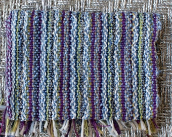 Chunky Woolen scarf Hand Woven Cozy Blue and Purple Mixed Colors with Tassels