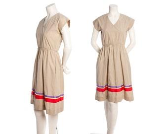 Vintage tan day dress with rainbow stripe ribbon -- vintage 70s 80s dress -- size xs / small