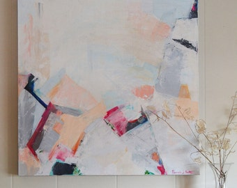 Original Abstract Painting, Original Abstract Contemporary Art, OOAK Modern Gray and Blush and Pink Painting by Pamela Bates, large wall art