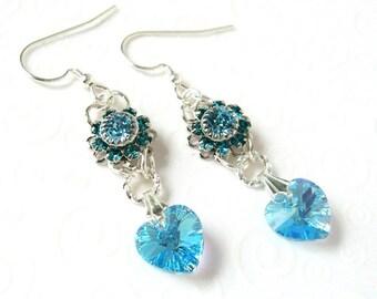 Aquamarine Heart Earrings, Heart Drop Earrings, Swarovski Crystal Jewelry, March Birthstone Jewelry, Birthstone Heart Earrings