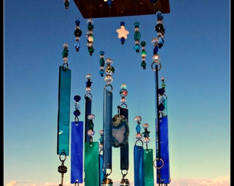 Stained glass wind chime,  glass suncatcher, mobile, stained glass chime, patio decor, glass windchime
