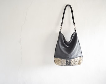 Black Hobo Purse with Woven Chevron Stripe  - Made to Order.  Strap Options