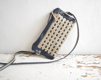 Mini Purse with Handweave - Detachable Crossbody Strap - Multi-Pocket Organiser - Clutch