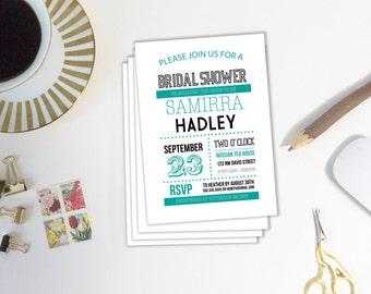 Bridal Shower Invitation, Printable Invitation, DIY Invitation Template, Instant Download, Bachelorette Party