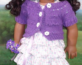 Spring Sweater in Purple with Ruffled Dress for 18 inch Girls