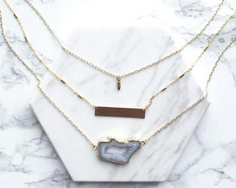 Gold Bar Necklace, Sliced Agate Necklace, Layered Gold Bar Necklace, Delicate Statement Necklace, Layering Necklace, Multi Strand Necklace