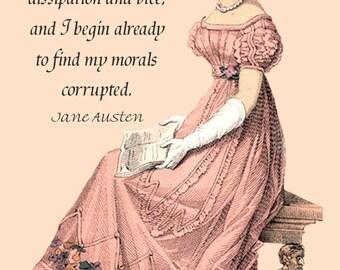 Jane Austen Quotes. Jane Austen Card. Here I Am Once Again. Jane Austen Dress. London. 4x6 Postcard. Postcard. Jane Austen