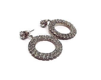 Pierced Vintage Rhinestone Earrings Silver Tone Round Dangle Hoop Loop Womens Formal Retro Mod Jewelry Wedding Prom Bling Glitz Glam Sparkle
