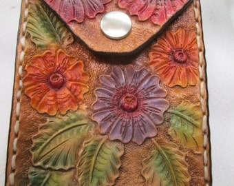Rare leather,  floral zip up coin purse, coin holder, zippered case, zip up case , leather case, floral case