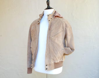 Vintage Mens Medium SZ 42 Suede Leather Hooded Grey Wilsons Leather Bomber Trucker Quilted Full Zip Moto Biker Jacket Motorcycle Hipster Mod
