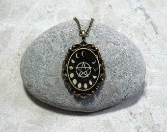 Moon Phases Pentagram Necklace Antique Bronze Black And White