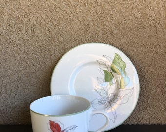 Vintage Poinsettia Block Spal Flat Cup & Saucer Watercolors Mary Lou Goertzen 1982 - #A1683