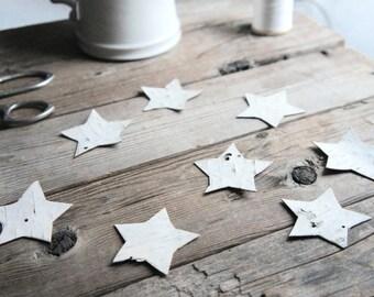 Birch Bark Confetti Stars - Nature Theme Party Decor - Nature Theme Wedding Table Decor - Theme Table - Star Party Confetti - White Confetti