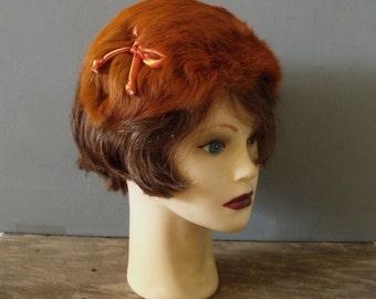 LUCILLE B. Rust Fur Fascinator ~ 1950's Glamour Fur Bandeau Hat