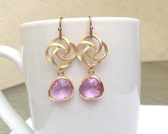 Gold Lavender Earrings. Purple Earrings. Lilac. Light Purple. Wedding Earrings. Bridesmaid Earrings. Bridesmaid Jewelry. Bridal Jewelry.Gift