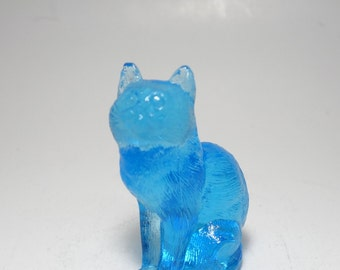 Vintage Signed Mosser Topaz Blue Art Glass Cat Figurine, Mosser Electric Blue Glass Cat Figurine, Mosser Glass Blue Glass Cat Figurine, Cat