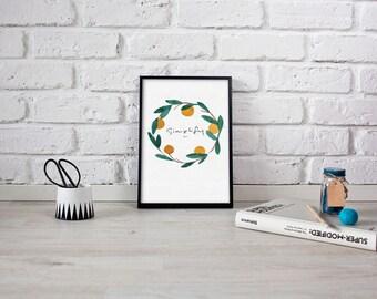 "8x10 printable download watercolor Spring Orange Wreath ""Simplify"" hand written print"