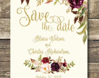 Printed Save The Date - Fall Floral Watercolor Wedding - Gold / Cream / Burgundy / Marsala / Wine / Blush Rustic Wedding