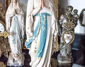 Lg Antique FRENCH Our Lady of Lourdes Statue, from France, Timeworn Beauty