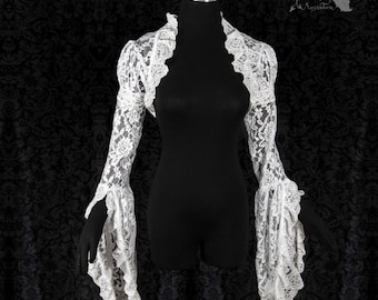 White lace shrug, cottage chic, wedding bolero, art nouveau, Somnia Romantica, approx size medium - large see item details for measurements
