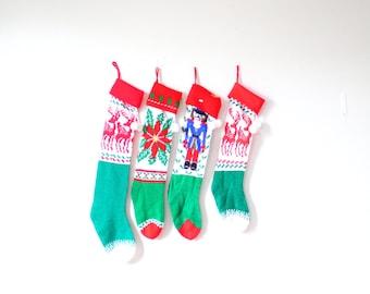 Vintage knit family stockings // set of four christmas stockings // nutcracker reindeer poinsettia stocking // sets family stocking green